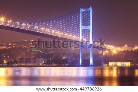Amazing Istanbul bridge with city light. - stock photo