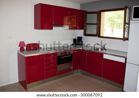 Amazing kitchen with all new appliances - stock photo