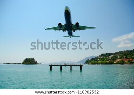Amazing landing at Kerkyra Airport, corfy Greece - stock photo