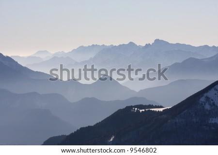 Amazing landscape of mountains - stock photo