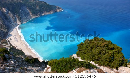 Amazing landscape of Myrtos beach, Kefalonia, Ionian islands, Greece