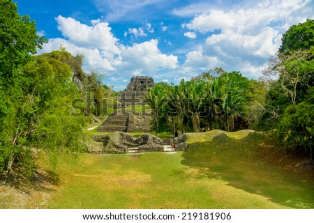 amazing landscape of xunantunich maya site ruins in belize caribbean - stock photo