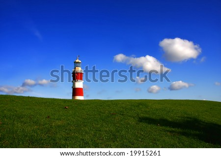 amazing landscape with lighthouse, Plymouth, UK - stock photo