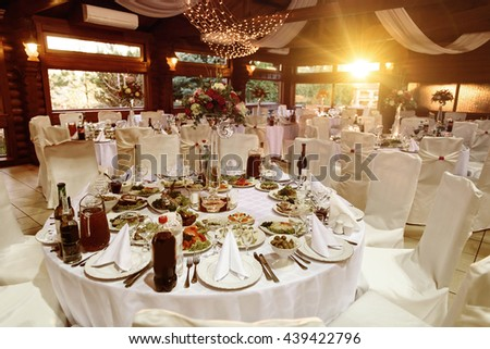 amazing luxury decorated tables for wedding reception, catering in restaurant - stock photo