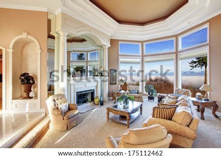 Amazing luxury interior with stunning window view on mountains - stock photo