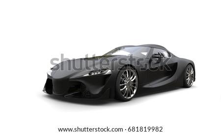 Amazing Matte Black Super Sports Car   Beauty Shot   3D Illustration