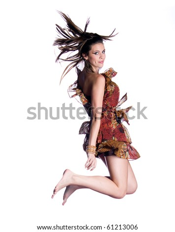 Amazing Model posing and Jumping - stock photo