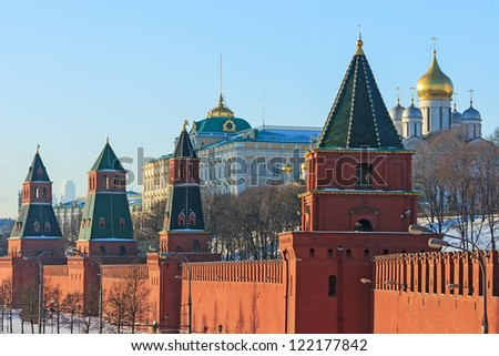 Amazing Moscow Kremlin in the winter, Russia - stock photo
