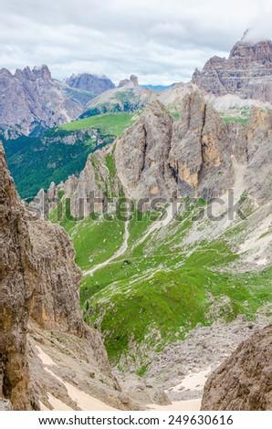 Amazing mountain landscape on a background of blue sky, Averau-Nuvolau group, Dolomites Mountains, Italy  - stock photo