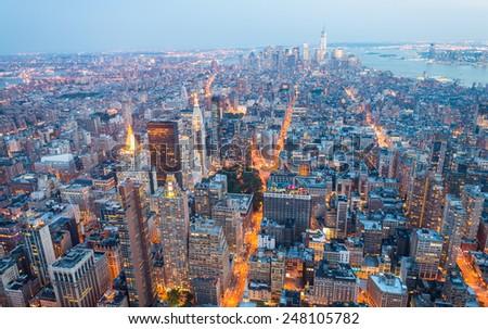 Amazing New York skyline at night. - stock photo