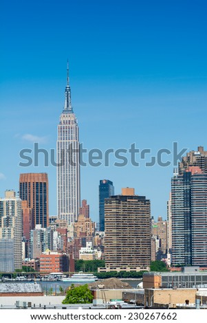 Amazing New York Skyline on a beautiful sunny day.