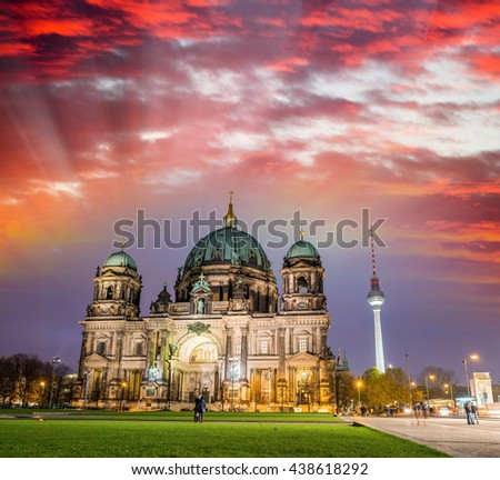 Amazing night colors of Berliner Dom, City Cathedral. - stock photo