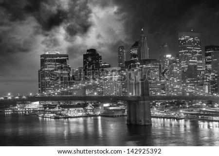 Amazing night in New York City - Manhattan Skyline and Brooklyn Bridge. - stock photo