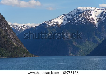 Amazing Norway mountains with snow - stock photo