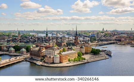 Amazing panorama from height of bird's flight on observation deck on tower City Hall to Gamla Stan (Old Town), Stockholm, Sweden