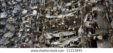 amazing panorama of building being demolished - part of series - stock photo