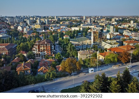 Amazing Panorama of City of Haskovo from Monument of Virgin Mary, Bulgaria