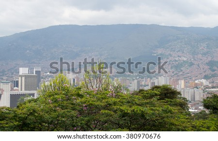 Amazing panorama of modern South American city Medellin, Colombia - stock photo
