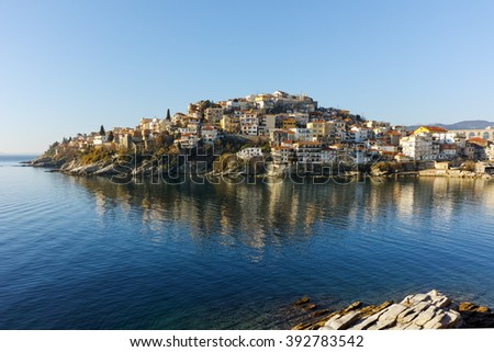 Amazing Panorama of Old town of Kavala, East Macedonia and Thrace, Greece - stock photo