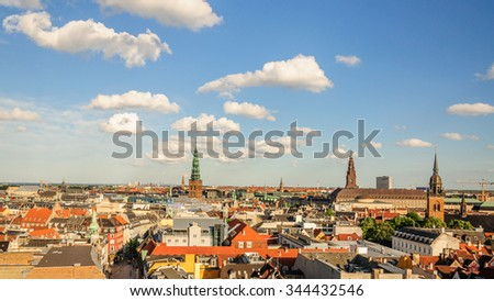 Amazing panorama of the old part of the city from the observation deck at the Round tower (Rundetaarn) in Copenhagen, Denmark - stock photo