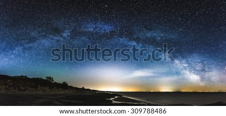 Amazing Panoramic Landscape view of a Milky Way at night sky, with grain