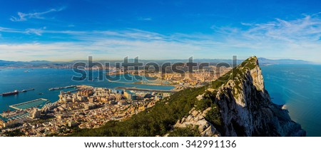 Amazing panoramic view on the rock of Gibraltar and the city around it - stock photo