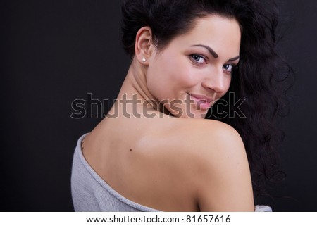 Amazing portrait of beautiful young caucasian woman. - stock photo