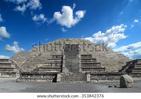 Amazing Pyramid of the Moon at Teotihuacan - stock photo