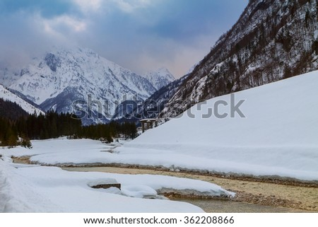 Amazing river winter in the mountains, Julia alps in Slovenia