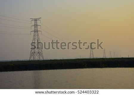 Amazing riverside sunset with electric stand