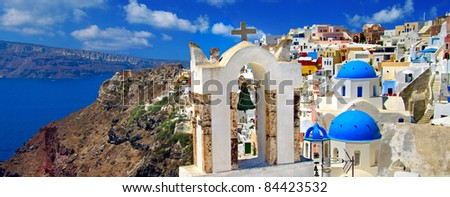 amazing Santorini - panoramic view - stock photo