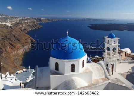 Amazing Santorini with sea view in Greece, Thira capital town