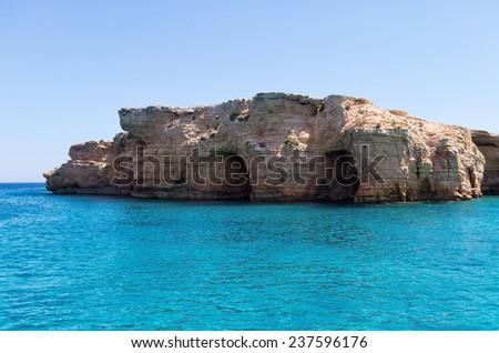 Amazing scenery in Ano Koufonisi island, Cyclades, Greece - stock photo