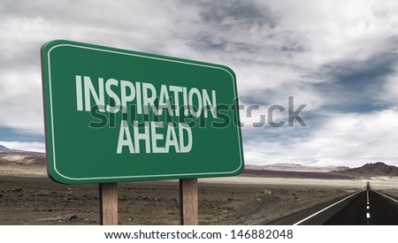Amazing sign on the road with the message - Inspiration Ahead