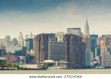 Amazing skyline of Manhattan - New York Skyscrapers. - stock photo