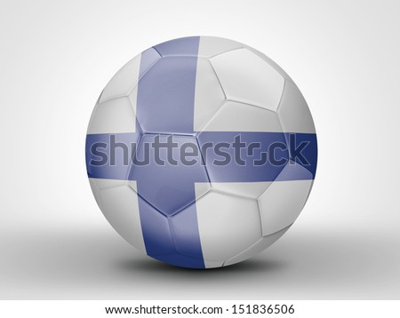 Amazing soccer ball with the flag of Finland ( Europe , Scandinavia ) isolated on white
