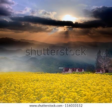Amazing sunrise and mountain - stock photo