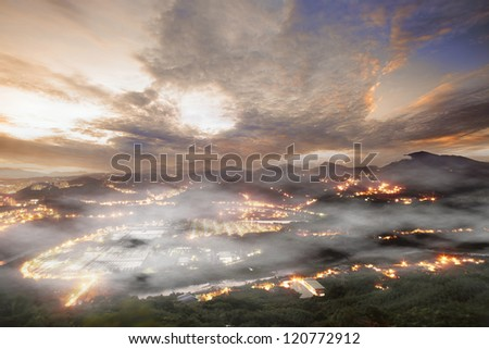 Amazing sunrise and mountain for adv or others purpose use - stock photo