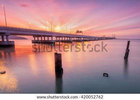 Amazing Sunrise and Sunset in 2nd Penang Bridge George Town, Penang Malaysia - stock photo