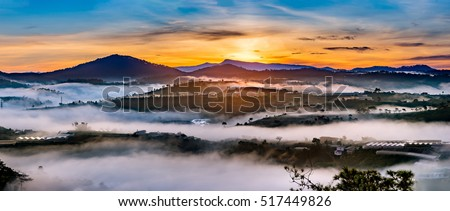 Amazing sunrise in Golden Hill , Golden Valley in Da Lat City, Famous View In Da Lat City Da Lat is highland city fog in the morning. Da Lat is one of the beautiful and the famous city in Viet Nam.