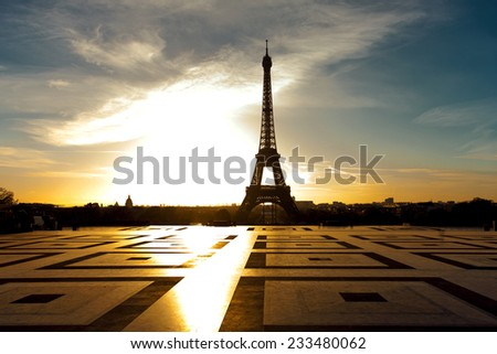 Amazing sunrise on trocadero place and eiffel tower in Paris. High contrast and vibrant color added - stock photo