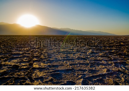 amazing sunset at Badwater Death Valley National Park - stock photo