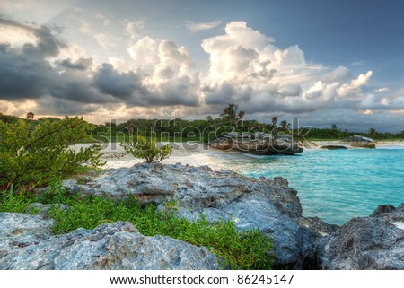 Amazing sunset at Caribbean Sea in Mexico - stock photo