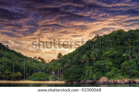 Amazing sunset in Angra dos Reis, Rio de Janeiro, Brazil - stock photo