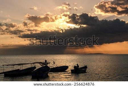 Amazing sunset in Tarcoles - Puntarenas, Costa Rica - stock photo