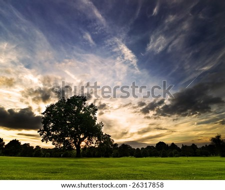 amazing sunset on a golf-course (DRI version) - stock photo