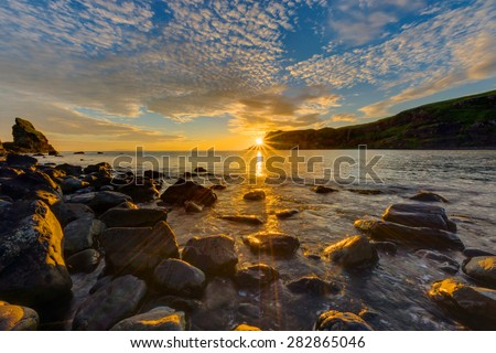 Amazing sunset on the Isle of Skye in Scotland - stock photo