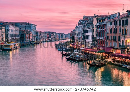Amazing sunset over Grand Canal from Rialto Bridge in Venice, Italy - stock photo