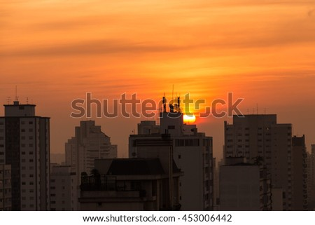 Amazing sunset over Sao Paulo, Brazil - South America