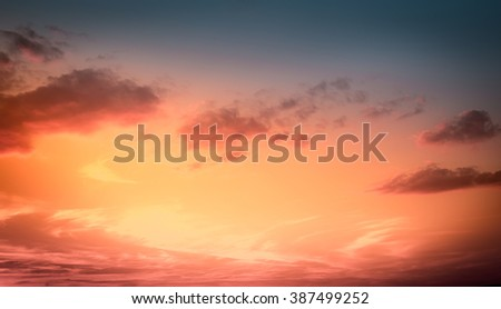 Amazing sunset sky for background. Vivid colors. - stock photo